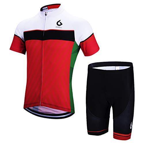 GWELL Herren Radtrikot Set Fahrrad Trikot Kurzarm + Radhose mit Sitzpolster Radsport-Anzüge Rot 3XL