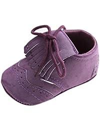 Tefamore zapatos primeros pasos bebes de antideslizante de sole suave de moda invierno de calentar Piel de encaje