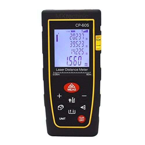 Preisvergleich Produktbild MXtechnic Digitaler Laser Entfernungsmesser 0.05 bis 60m Messbereich Hohe Präzisionslasermessgerät mit Schutztasche, IP54 Staub- und Spritzwasser-Schutz (CP-60S)