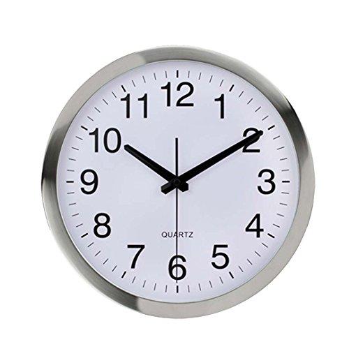 Naughty monkey inc orologio da parete telaio metallico in vetro di quarzo numero orologio al quarzo orologio da parete moderno design decorativo per interni/cucina silver