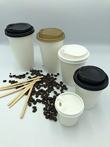 Café Té vasos papel único pared blanco negro tapa