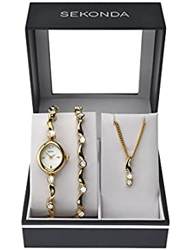 Sekonda Damen-Armbanduhr Analog und Gold-Legierung Armband Geschenkset - 4236G.68