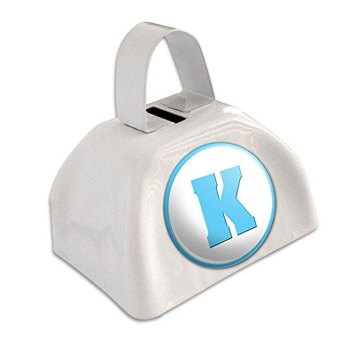 Buchstabe K Initiale Baby Boy Block Schriftart blau Dusche weiß Cowbell Kuhglocke