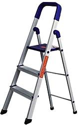 Cipla Plast Folding Aluminium Ladder - Home Pro 3 Steps + Free 14 Pcs Multipurpose Buffers - GEC-L3