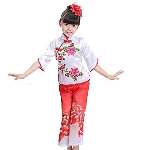 Byjia Kinder Tanz Bühne Kostüme Yangko Folk Girls Klassische Fan Drum Performance Lose Teen Kleidung Studenten Chor Gruppe Team Red 140Cm