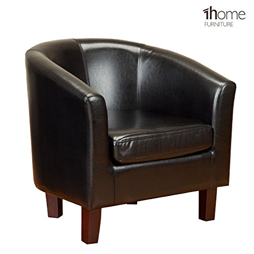 1home Bonded Leather Tub Chair for Dining Living Room Office Reception (Black)