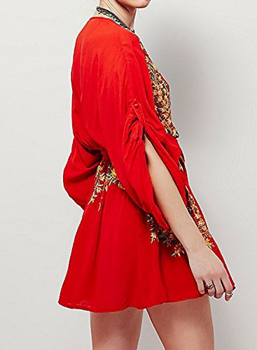 Futurino Damen Blumenstickerei Tunika V-Ausschnitt 3/4 Ärmel Mini Kleid Rot
