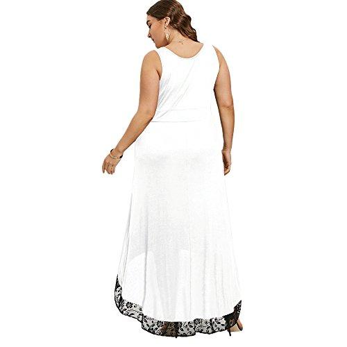 Estivi Donna Vestito Lungo Abito Senza Maniche Abito Da Sera Stile Elegante Scollatura a Cuore BIANCA
