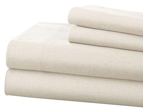 577e3ec06c Pacific Coast Textiles Leinen & Baumwolle-Bettlaken-Set Queen, weiß, 4-