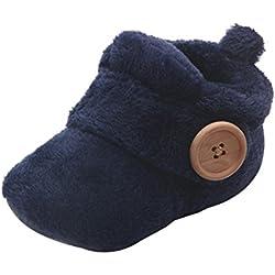 Tefamore Zapatos de bebé, Zapatos para niños Antideslizante Niños Moda Botas de algodón caliente botas Martin Sneaker Invierno Nieve Zapatos casuales (6-9 meses, Azul)