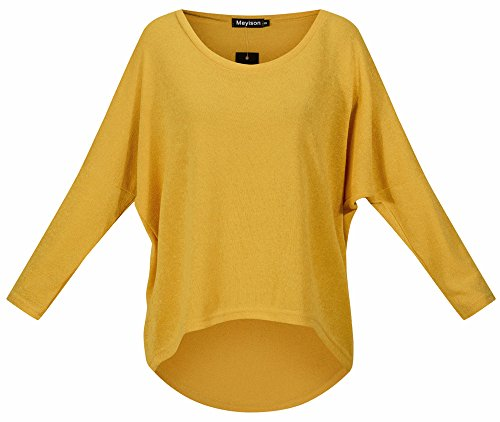 Meyison Damen Lose Asymmetrisch Sweatshirt Pullover Bluse Oberteile Oversized Tops T-shirt Gelb