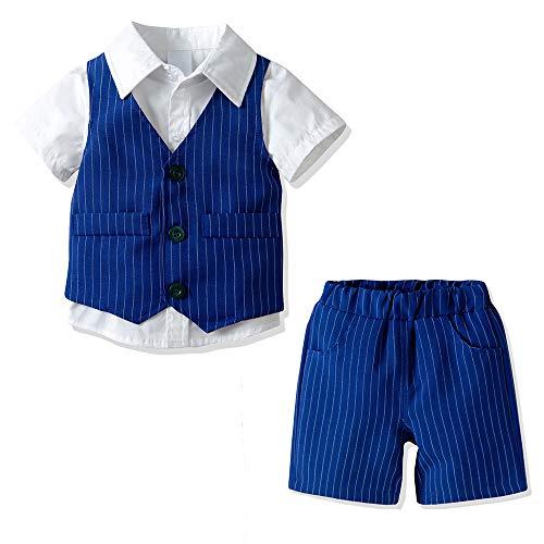 Yilaku Abbigliamento Bambino Vestiti Pantaloncini Abito Bimbo Ragazzo Battesimo Maschio Completo Elegante Neonato Vestiti Estivo