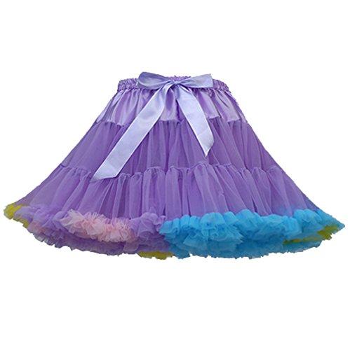 (Tütü Damen Tüllrock Mädchen Tutu Rock Petticoat Unterrock Ballett Kostüm Tüll Röcke überlagerte Rüsche Festliche Tütüs Erwachsene Pettiskirt Ballerina Für Dirndl Mini Rock Layered Hell Violett Farbe)