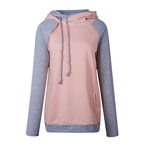 Yieune Damen Kapuzenpullover Rollkragen Pulli Pullover Sport Kapuzenpulli Sweatshirt Kontrastfarbe Hoodies