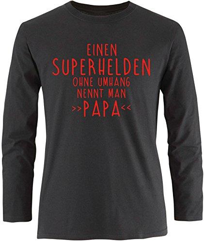 EZYshirt® Einen Superhelden ohne Umhang nennt man Papa Herren Longsleeve Schwarz/Rot