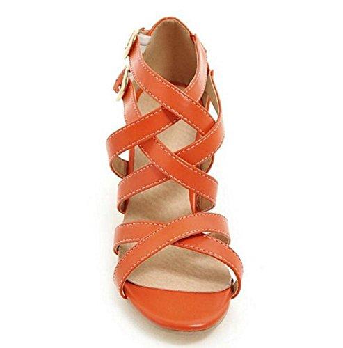 GLTER Frauen Knöchelriemen Pumps Spitze Kombination von römischen Leder Schuhe Gürtelschnalle Sandalen Gericht Schuhe Orange Beige Schwarz Orange