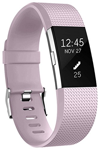 Für Fitbit Charge 2 Armband, HUMENN Charge 2 Armband Weiches Silikon Sports Ersetzerband Fitness Verstellbares Uhrenarmband für Fitbit Charge2 Small Lavendel