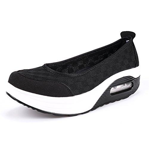 Paris Hill Women's Casual Toning Shoes Lightweight Platform Loafers Black UK6.5