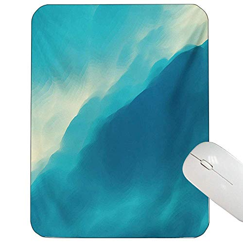 Modern Mouse Pad Benutzerdefinierte Öl Artwork Cloud Wave Bild mit Ombre scheinen farbige zeitgenössische Grafik drucken Gaming Mouse Pad blau und weiß in,Gummimatte 11,8