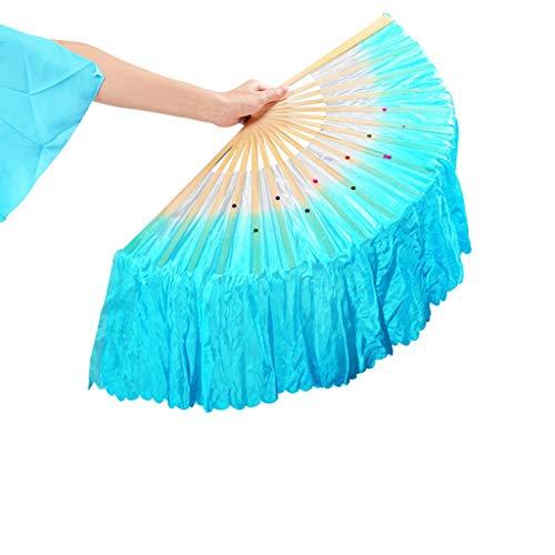 Fan verlängert Stoff Seite 20CM Links und rechts Faltfächer Square Dance Tai Chi Leistung for Erwachsene (Color : Blue, Size : Left Hand) ()