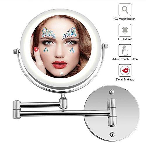 MRJ Vergrößerungsspiegel 10-Fach USB Wiederaufladbare LED Kosmetikspiegel Beleuchtet Zur Wandmontage Doppelseitig Touchscreen Dimmbarer Make-Up-Spiegel - Doppelseitige, Beleuchtete Make-up-spiegel