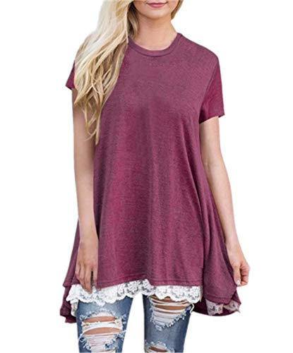 (KPILP Women Long Tops Autumn Loose Blouse Pullover with Lace Patchwork(Wine Red,UK-16/CN-M))