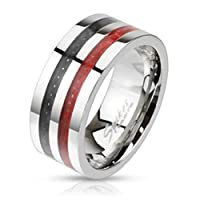 Paula & Fritz Ring Made of 316L Stainless Steel Two Straps, Red, available ring sizes 60 (19) �?? 69 (22) �?? Black Carbon Fiber Inlaid M2686KR