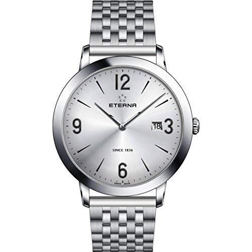 Eterna Men's Eternity 40mm Steel Bracelet & Case Sapphire Crystal Quartz Grey Dial Watch 2730-41-13-1746