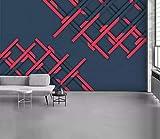 HONGYUANZHANG Rote Nähgeometrie Tapete Des Foto-3D Künstlerische Landschafts-Fernsehhintergrund-Tapete,92Inch (H) X 124Inch (W)