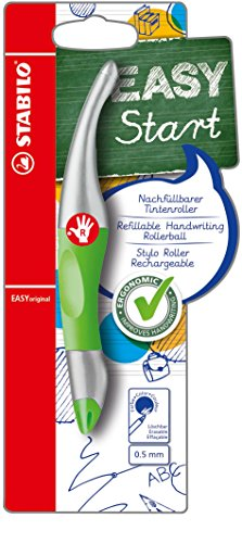 Ergonomischer Tintenroller - STABILO EASYoriginal metallic in neongrün/meltallic - Schreibfarbe blau (löschbar) - inklusive Patrone - für Rechtshänder