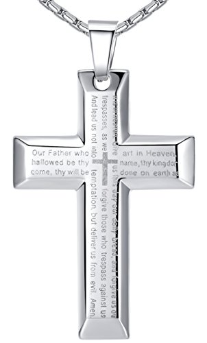 Aoiy Men's Stainless Steel Large Bible Lord's Prayer in English Scripture Cross Pendant Necklace, Silver-Tone, 58cm Chain, ddp020yi