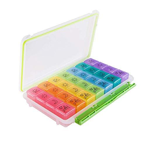 Newdora Pillendose Pillenbox mit 28 Fächer Pillen Organizer 7-Tage/4-mal-täglich großen Fächern zum Halten von Vitaminen, Nahrungsergänzungsmitteln und Medikamente (farbig)