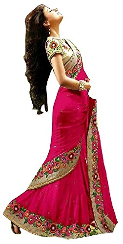 I-Brand Women's Pink Color Georgette Fabric Embroidery Work Border Saree