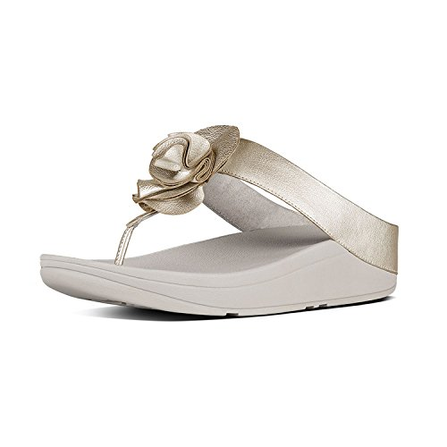FitFlop Florrie Toe Post Sandals Silver Pale Gold