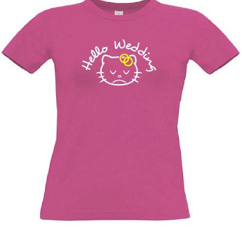 T-Shirt für den Junggesellinnenabschied mit dem Motiv Hello Wedding Fuchsia