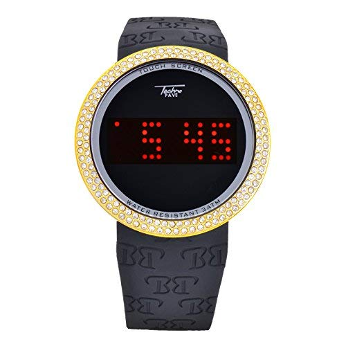 HIP HOP ICED Out Bling Diamant Gold Schwarz Digital Touch Bildschirm Sport Smart Watch Silikon Band, den tp7373bg - Touch-bling