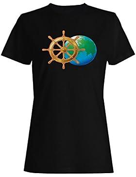 Nuevos Iconos De Viajes En El Mar Mapa Del Mundo camiseta de las mujeres i503f