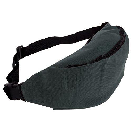 Smartfox Damen und Herren Gürteltasche Bauchtasche Hüfttasche mit zwei Fächern und Reißverschluss in grau