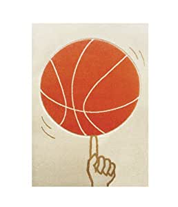 Little Helper Tapis Hypoallerg Nique Motif Ballon De Basket Ball En Relief Orage Cr Me 80 X 150