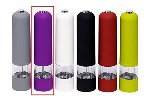 elektrische Salzmühle Pfeffermühle mit LED Licht Mühle Keramikmahlwerk Soft-Grip Gewürzmühle Salz Pfeffer Gewürze (Lila)