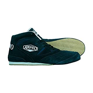 Ampro London Low-Top Boxing Boots -Training/Sparring/Competition/FREE String Bag (Navy/Blue, 10)