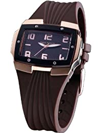 Reloj TIME FORCE de señora. Correa de caucho. Bronce y marrón chocolate. TF-3135L05-MO