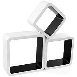 Songmics Juego de 3 estantes para libros CDs Estanterías de pared Cubos retro blanco-negro LWS80B