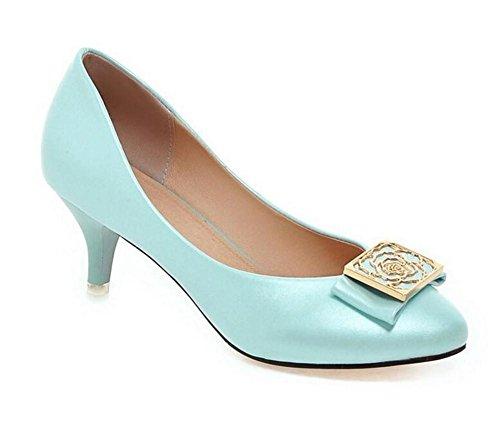 Court Shoes Women 's sottile con Basso - tacco bocca superficiale a punta le dita dei piedi in metallo solido colore calza blue