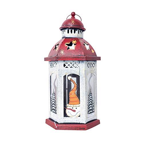 halter Laternen für Kerzen, Vintage, hohl Weihnachten, Schneemann, Weihnachtsmann, Winddicht, Kerzenhalter, Party-Dekoration, Eisen, schneemann, Large ()