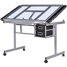 Tablero para Dibujo mesa inclinable de Cristal con Cajón Almacenamiento 4 ruedas