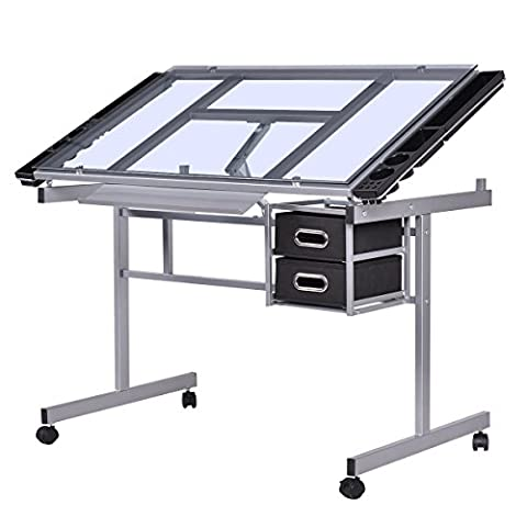 Costway Tiltable Drawing Table With Storage Drafting Draftsman Crafting Art Desk Home