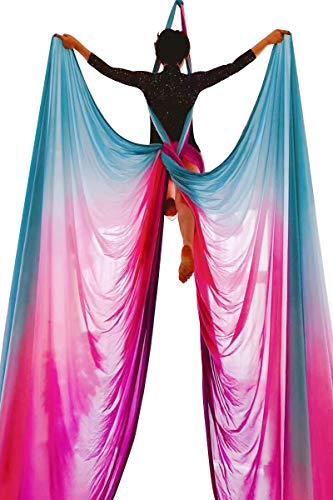 E-Bestar Yoga DIY Silk Pilates Aerial Silks Equipment Aerial Yoga Tuch Aerial Silk elastische Yoga Hängematte NUR Stoff KEIN Zubehör 10 Meter (Farbverlauf-G)