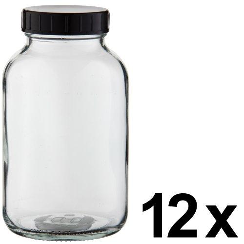 12 x Weithalsflasche 1000ml Klarglas inkl. Schraubverschluss mit Dichtungsscheibe *** Weithalsflaschen, Schraubgläser, Weithalsgläser, Glasdosen, Allzweckgläser, Haushaltsgläser, Weithalsglas, Schraubglas, Allzweckglas, Haushaltsglas, 1 Liter, 1l, 1000 ml, 1Liter ***