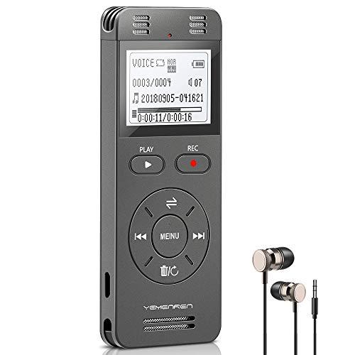Digitales Diktiergerät, YEMENREN 1536 kpbs Digitaler Voice Rekorder, Audio Aufnahmegerät mit Spracherkennung für Interviews Meetings, USB, Wiederaufladbar(Grau)